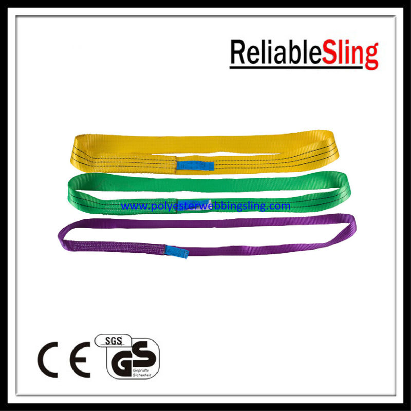 Polyester single ply Endless Webbing Sling , Heavy Duty Flat Webbing Sling