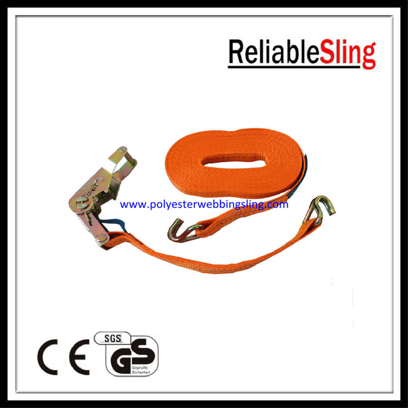 1Inch 1.5T Breaking Strength Durable Ratchet Tie Down Strap , J Hook ratchet straps