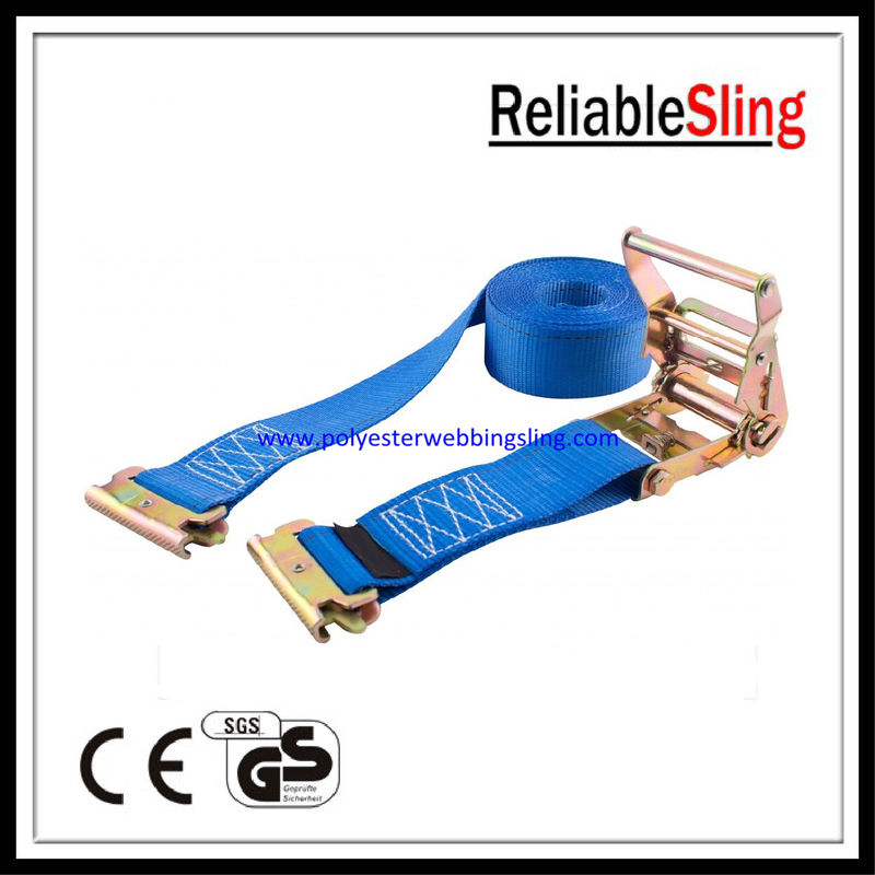 Polyester webbing E Track Ratchet Straps , truck ratchet tie down straps
