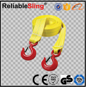 High Strength Heavy Duty Tow Straps , Jeep Tow Straps With Hooks 1t-50t
