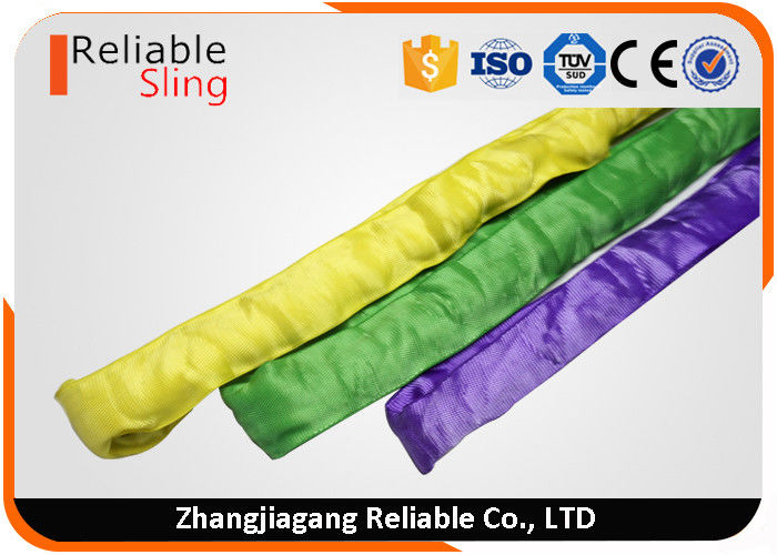 Synthetic Polyester Round Webbing Slings , Crane Lifting Slings with CE Approved