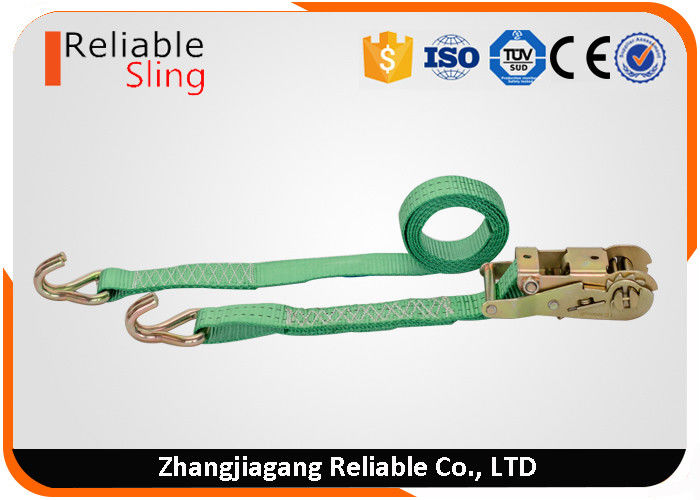 WLL 2T Green Ratchet Straps with Hooks , Double J Hook Ratchet Straps for Cargo Security